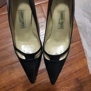 "Jimmy Choo black kid leather 3"" heels 6.5"